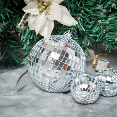 "4 Pcs 4"" Silver Glass Mirror Disco Ball 