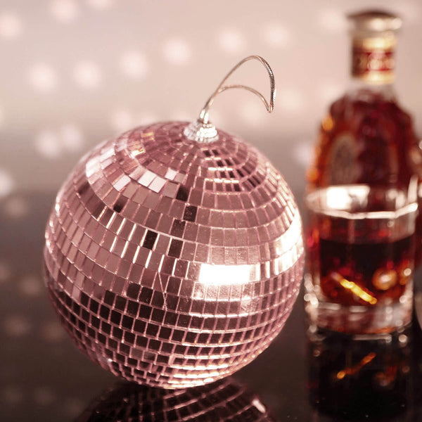 "4 Pcs | 6"" Rose Gold Mirror Glass Disco Ball with Hanging String 