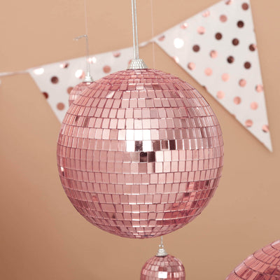 "4 Pcs | 6"" Rose Gold Glass Disco Mirror Balls with Hanging String 