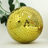"4 Pcs | 6"" Gold Glass Disco Mirror Balls with Hanging String 
