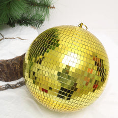 "Pack of 2 - 10"" Gold Disco Mirror Ball - Large Disco Ball with Hanging Swivel Ring"