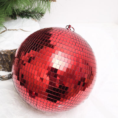 "2 Pcs | 10"" Red Glass Disco Mirror Balls with Hanging String 