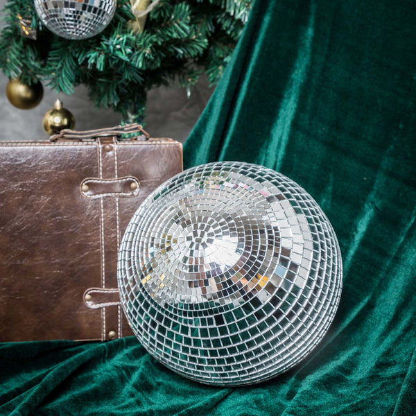 "Pack of 2 - 10"" Silver Disco Mirror Ball - Large Disco Ball with Hanging Swivel Ring"