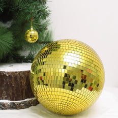 "16"" Gold Glass Disco Mirror Balls with Hanging String 