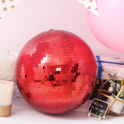 "16"" Red Disco Mirror Ball - Large Disco Ball with Hanging Swivel Ring"