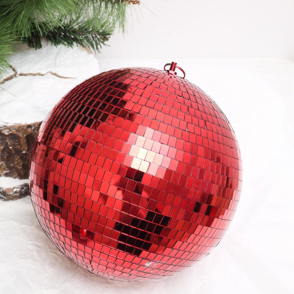 "16"" Red Disco Mirror Ball - Large Disco Ball with Hanging Swivel Ring - Clearance SALE"