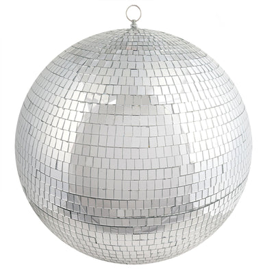 "20"" Silver Disco Mirror Ball - Large Disco Ball with Hanging Swivel Ring"