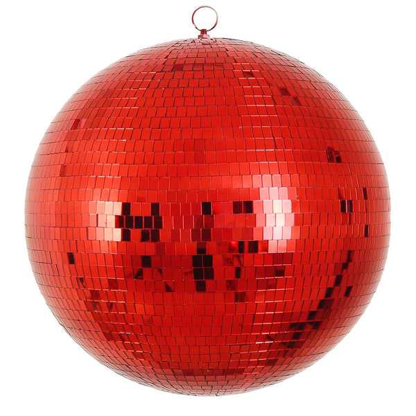 "24"" Red Disco Mirror Ball - Large Disco Ball with Hanging Swivel Ring - Clearance SALE"