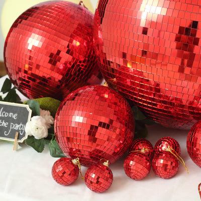 "24"" Red Disco Mirror Ball - Large Disco Ball with Hanging Swivel Ring"