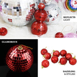 "4 Pcs | 6"" Red Glass Disco Mirror Balls with Hanging String 