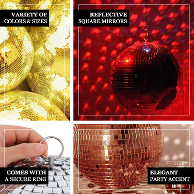 "4 Pcs | 4"" Gold Glass Disco Mirror Ball with Hanging String 