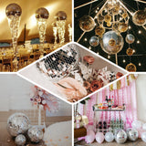 "6 Pcs | 2"" Rose Gold Glass Disco Mirror Ball with Hanging String 