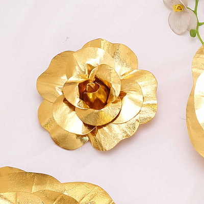 "6 Pack 8"" Large Gold Real Touch Artificial Foam Craft Roses"