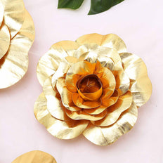 "4 Pack 12"" Large Gold Real Touch Artificial Foam Craft Roses"