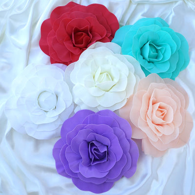 "4 Pack 12"" Large Lavender Real Touch Artificial Foam Craft Roses"