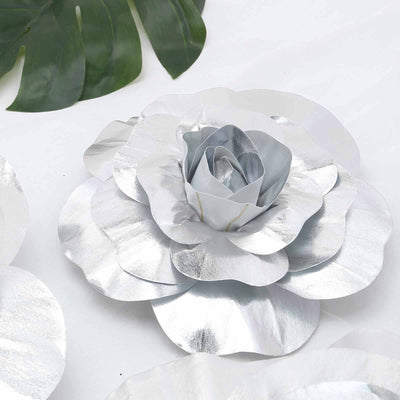 "4 Pack 12"" Large Silver Real Touch Artificial Foam Craft Roses"