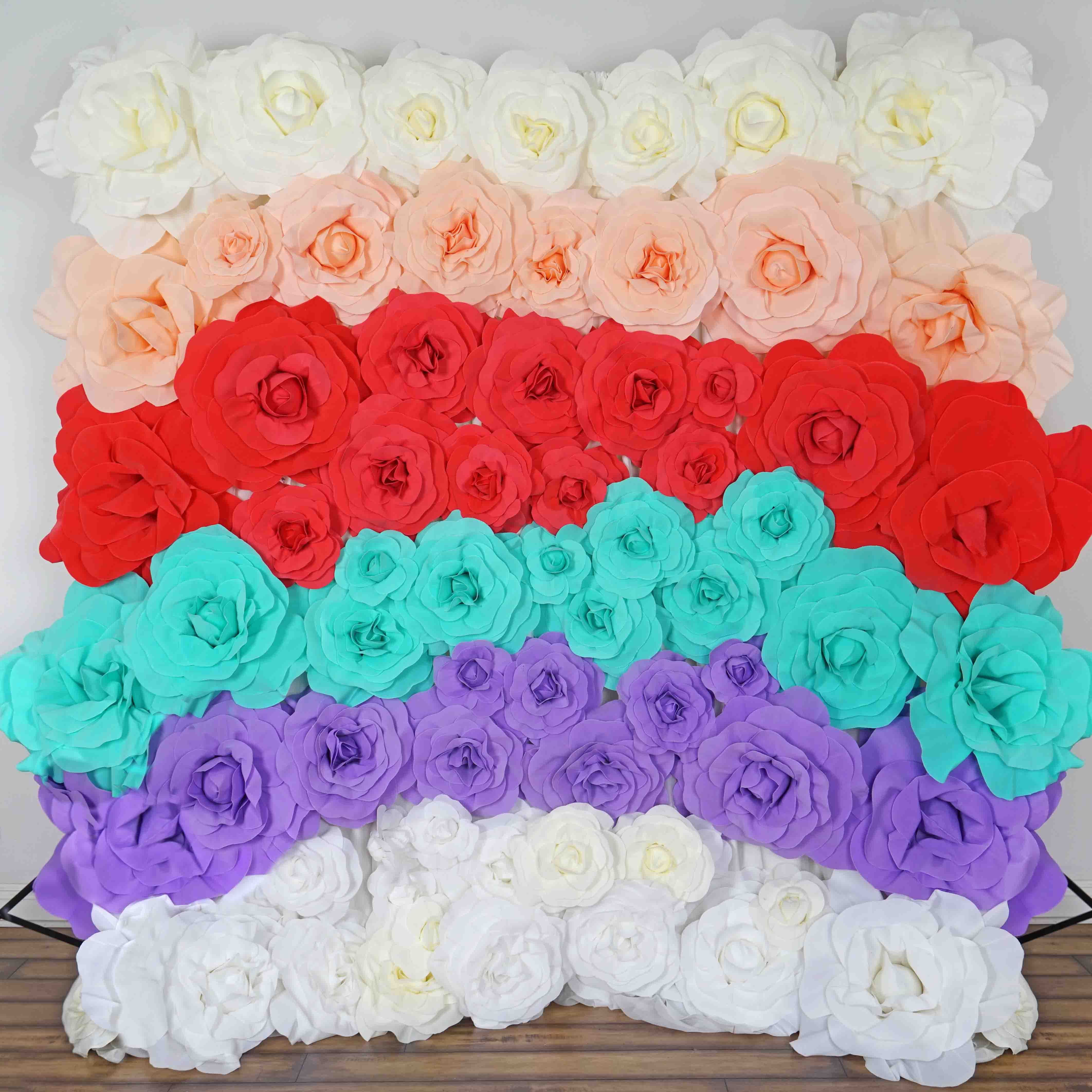 12 Real Touch White Artificial Foam Paper Rose Diy 3d Artificial