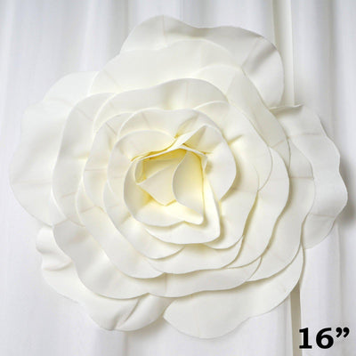 "4 Pack 16"" Large Ivory Real Touch Artificial Foam Craft Roses"