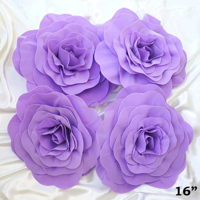 "4 Pack 16"" Large Lavender Real Touch Artificial Foam Craft Roses"