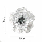 "4 Pack 16"" Large Silver Real Touch Artificial Foam Craft Roses"