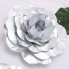 "2 Pack 20"" Large Silver Real Touch Artificial Foam Craft Roses"