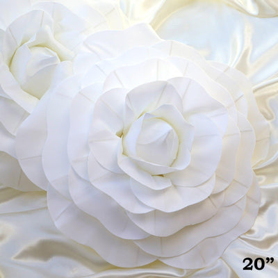"2 Pack 20"" Large White Real Touch Artificial Foam Craft Roses"