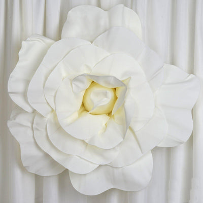 "2 Pack 24"" Large Ivory Real Touch Artificial Foam Craft Roses"