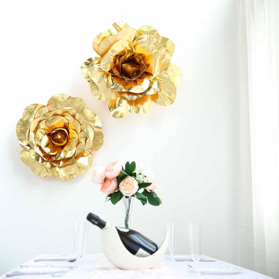 "2 Pack 20"" Large Metallic Gold Real Touch Artificial Foam Craft Roses"