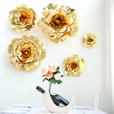 "4 Pack 16"" Large Gold Real Touch Artificial Foam Craft Roses"