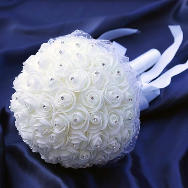 4 Pack White Artificial Rhinestone Studded Foam Rose Flower Bridal ...