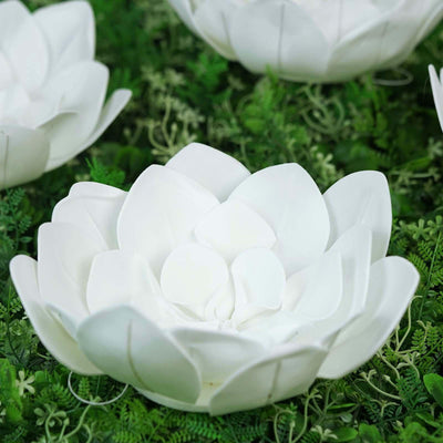 "4 Pack 12"" White Real Feel Foam Dahlia Flowers"