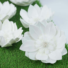 "6 Pack 8"" White Real Feel Foam Dahlia Flowers"