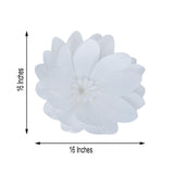 "4 Pack 16"" White Real Feel Foam Dahlia Flowers"