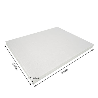 "6 Pack | 12""x15"" White Styrofoam Foam Rectangle Flats"