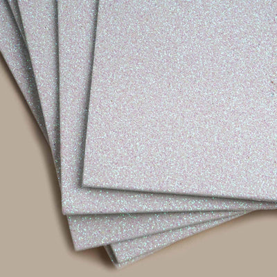 "10 PCS Wholesale Glittered Metallic Foam Craft Art Sheets Fofuchas - White - 9.5""x12"""