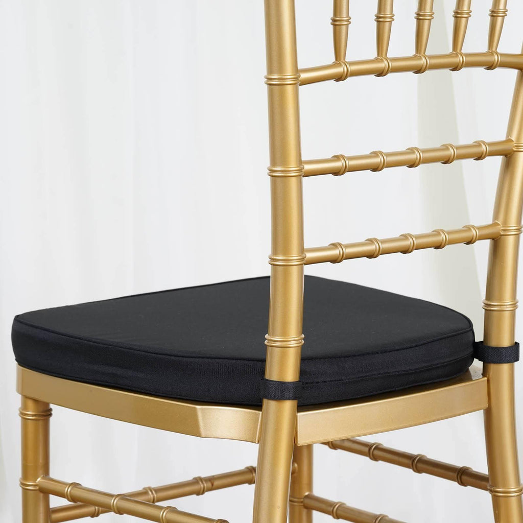 Chair Pad Seat Padded Black Sponge Cushion With Poly Thread Soft Fabric Straps And Removable Zippered Cover