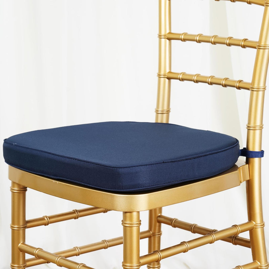 Chair Pad Seat Padded Navy Blue Sponge Cushion With Poly