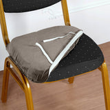 Charcoal Gray Velvet Dining Chair Seat Cover, Stretchable Chair Cushion Cover with Tie