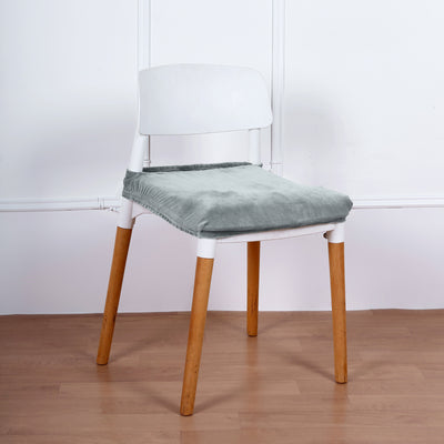 Dusty Blue Velvet Dining Chair Seat Cover, Stretchable Chair Cushion Cover with Tie