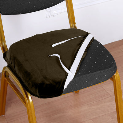 Chocolate Velvet Dining Chair Seat Cover, Stretchable Chair Cushion Cover with Tie