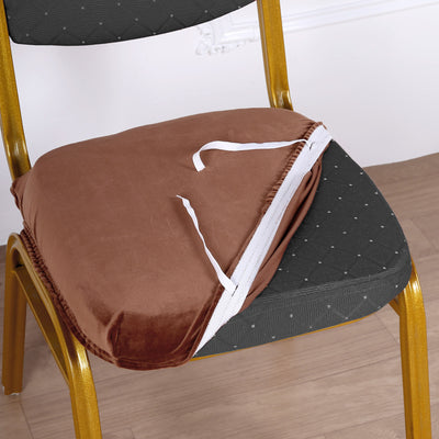 Copper Velvet Dining Chair Seat Cover, Stretchable Chair Cushion Cover with Tie