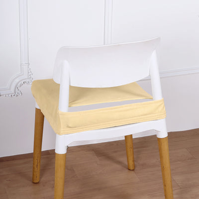 Ivory Velvet Dining Chair Seat Cover, Stretchable Chair Cushion Cover with Tie