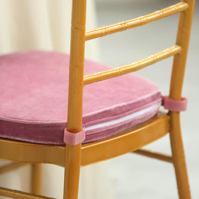 2 inches Thick Dusty Rose Chair Cushion Pad | Chiavari Chair Cushion with Velcro Strap and Removable Velvet Cover