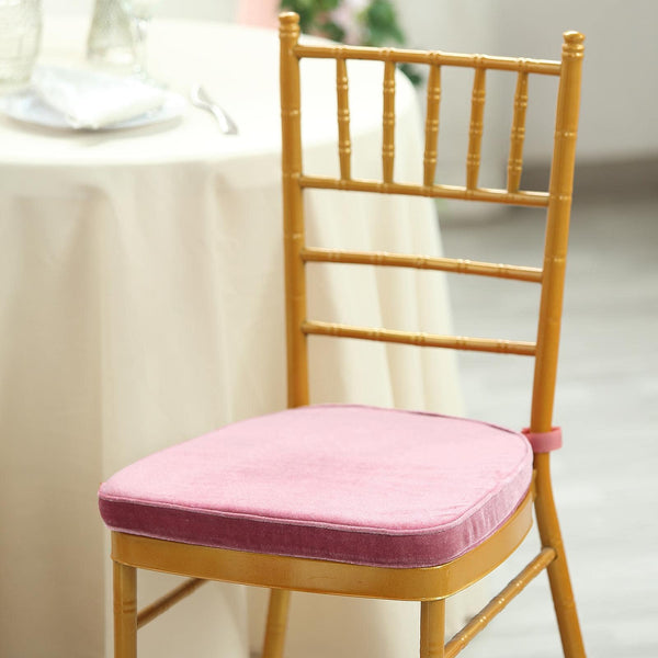 "2"" Thick - Dusty Rose Velvet Memory Foam Seat Cushion - Chiavari Chair Cushion Pads with Velcro Strap and Removable Velvet Cover"