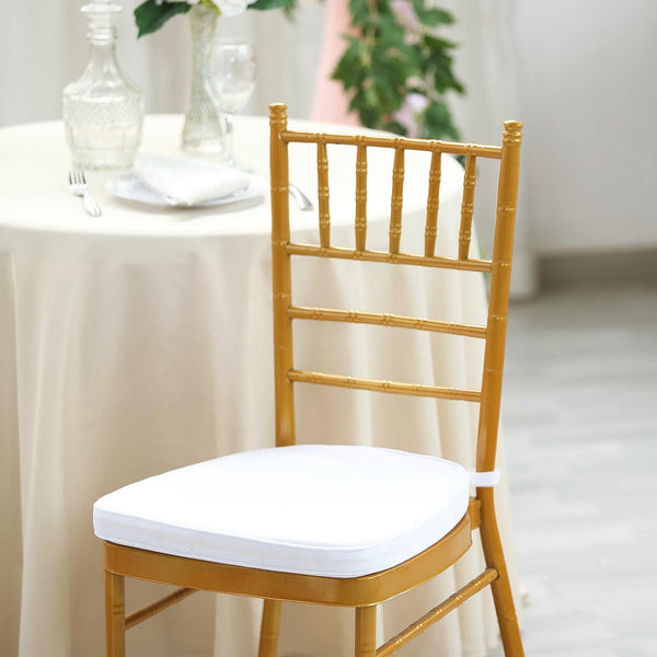 "2"" Thick - White Velvet Memory Foam Seat Cushion - Chiavari Chair Cushion Pads with Velcro Strap and Removable Velvet Cover"