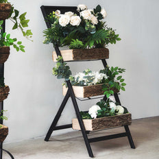 3 Tiered Planter Stand With Blackboard Top, Wooden Planters With Metal Ladder Plant Stand