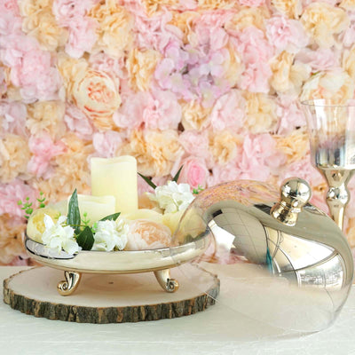 "2 Piece | 6-in-1 Dome Server Set | 11"" Chrome Gold 