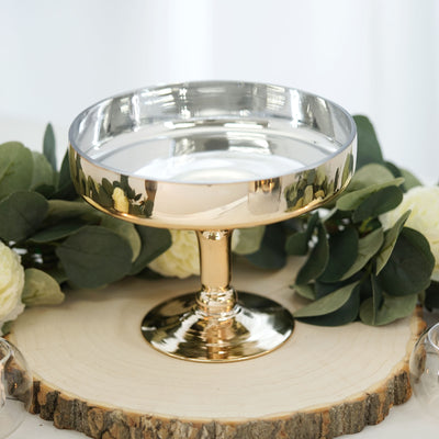 "2 Piece | 6-in-1 Dome Server Set | 16"" Chrome Gold 