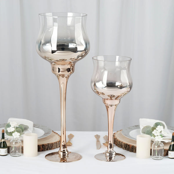 Set of 2 | Champagne Long Stem Ombre Glass Goblet Candle Holder Set - 20"
