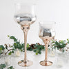 Set of 2 | Champagne Long Stem Ombre Glass Goblet Candle Holders - 20"